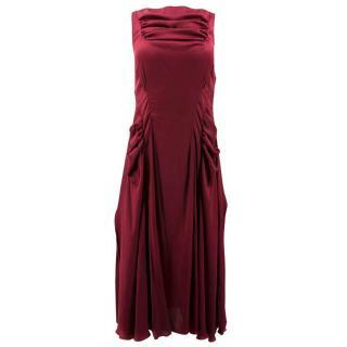 Nina Ricci Red Silk Ruffled Dress