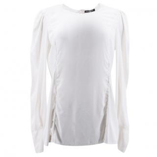 Balmain White Silk Blouse