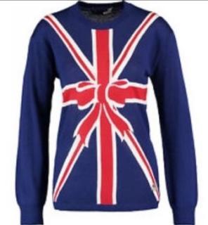 Moschino Ladies Union Jack / Christmas bow jumper