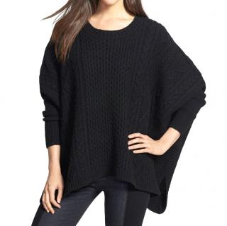 Marc By Marc Jacobs Women's Black Frieda Cabled Poncho Sweater