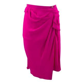 Nina Ricci Fuchsia Draped Mid- Length Skirt