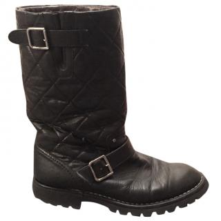 Chanel black quilted  biker boots