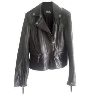 Karl Lagerfeld Lambskin Leather Biker Jacket