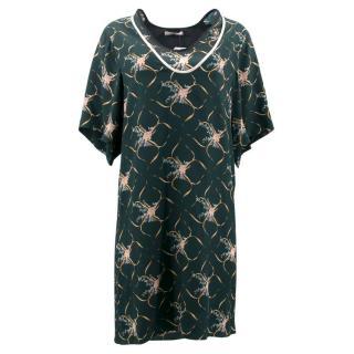 Bouchra Jarrar Floral Green Silk Dress