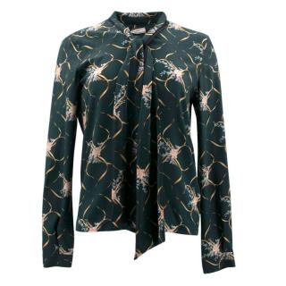 Bouchra Jarrar Floral Green Silk Blouse