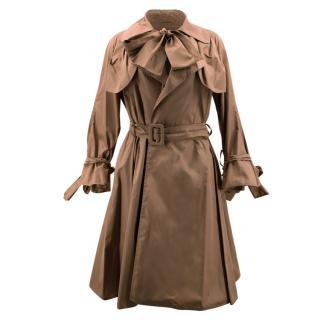 Burberry Tan Silk Trench Coat
