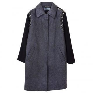 Alberta Ferretti studded grey wool coat