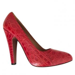 cb95c7d66fd1 Alaia Red Alligator Skin Pumps