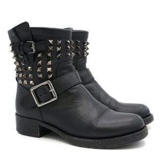 Valentino Black Rockstud Biker Boots