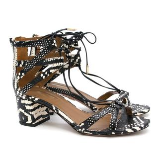 Aquazzura Beverly Hills Mid Heel Python Effect Sandals