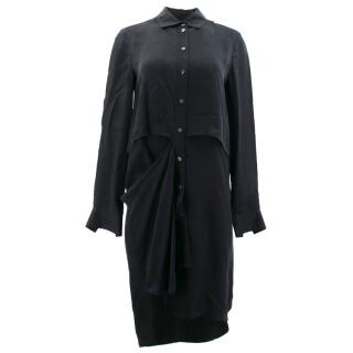 McQ Alexander McQueen Black Short Double Layer Shirt
