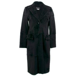 Salvatore Ferragamo Black Lapin Coat