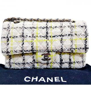 Chanel yellow and black tweed shoulder bag
