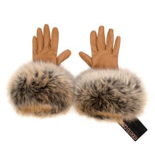 Roberto Cavalli Tan Leather Gloves with Fox Fur Trim