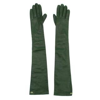 Escada Green Leather Long Gloves