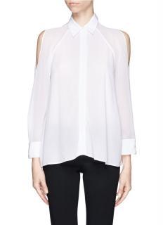 Alice + Olivia Women's White 'gibson' Sheer Open Shoulder Blouse