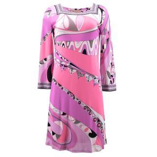 Emilio Pucci Pink Pucci Print Short Silk Dress