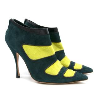 Manolo Blahnik Green Pony Hair Heels