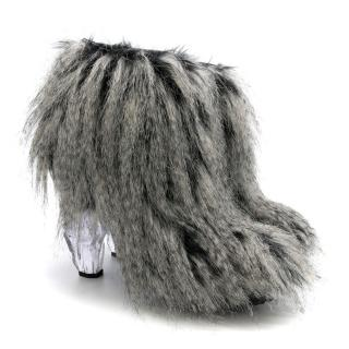 Chanel Black Faux Fur Lucite Icicle Fantasy Ankle Boots