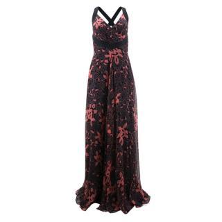 Temperley Floral Print Silk Gown