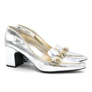 Fabrizio Viti Metallic City Shoes with Daisy Detail