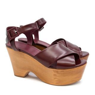 Celine Burgundy Wooden Wedges