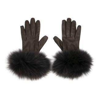 Paule Ka Brown Leather and Fox Fur Gloves