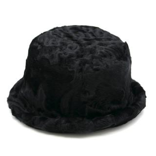 Prada Black Lamb Fur Bucket Hat