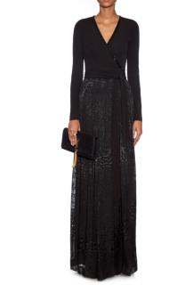 Diane Von Furstenberg- Silk mix Maxi Wrap dress