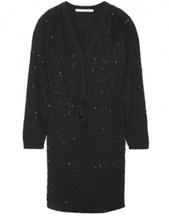 Diane Von Furstenberg Black Silk Beaded Dress