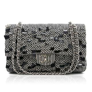 Chanel Canvas Sequin Stripe Medium Double Flap Bag