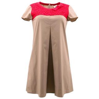 Paule Ka Brown and Red Cotton Shift Dress
