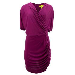 Catherine Malandrino Purple Silk Draped Dress