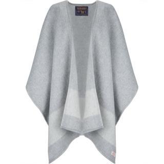 Woolrich Ladies Grey Stripe Wool Blend Cape Poncho