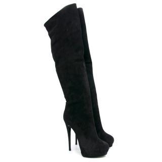 Giuseppe Zanotti Black Suede Heeled Knee Boots