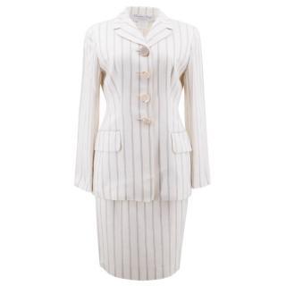 Christain Dior Boutique Cream Silk Striped Skirt Suit