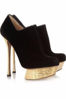 NICHOLAS KIRKWOOD black velvet and leather ankle boots