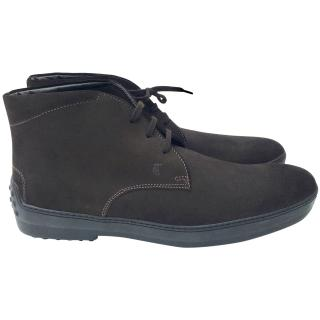 Tods dark brown suede mens lace up boots