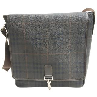 Burberry brown classic leather messenger bag