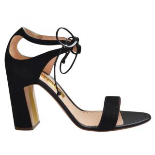 Rupert Sanderson Black Ravenna Burgundy Vogue Sandals/Shoes
