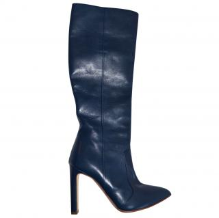 Rupert Sanderson Knee High Heel Boots in Blue Leather UK4/EU37