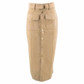 Frame Denim Tan Cow Suede Pencil Skirt