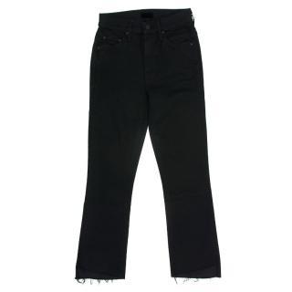 Mother The Insider Black Crop Step Fray Jeans