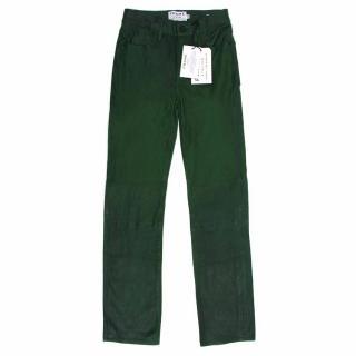 Frame Green Lamb Leather Straight Leg Trousers