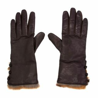 Bespoke Brown Leather Gloves With Rabbit Fur Trim