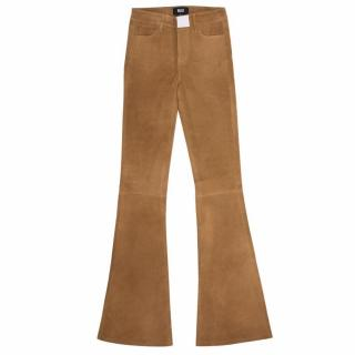 Paige Saddle Brown Suede Bell Canyon Flared Trousers - Current Season