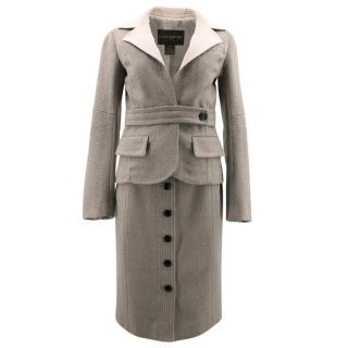 Louis Vuitton Grey Tweed Jacket and Skirt Set