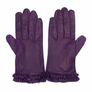 Bespoke Purple Leather Gloves With Frilled Trim