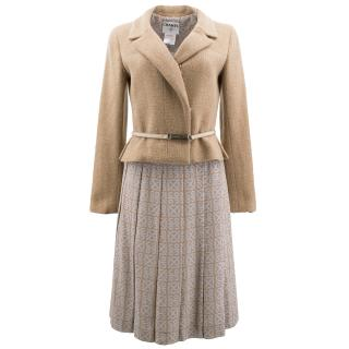Chanel Brown Patterned Jacket and Skirt Set with Belt