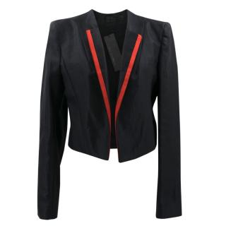 Haider Ackermann Black Silk Cropped Blazer